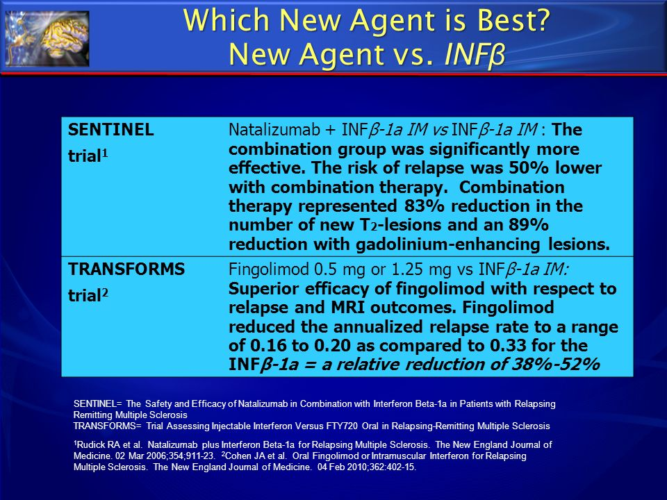 Which New Agent is Best? New Agent vs. INF β SENTINEL trial 1 Natalizumab + INFβ-1a IM vs INFβ-1a IM : The combination group was significantly more ef