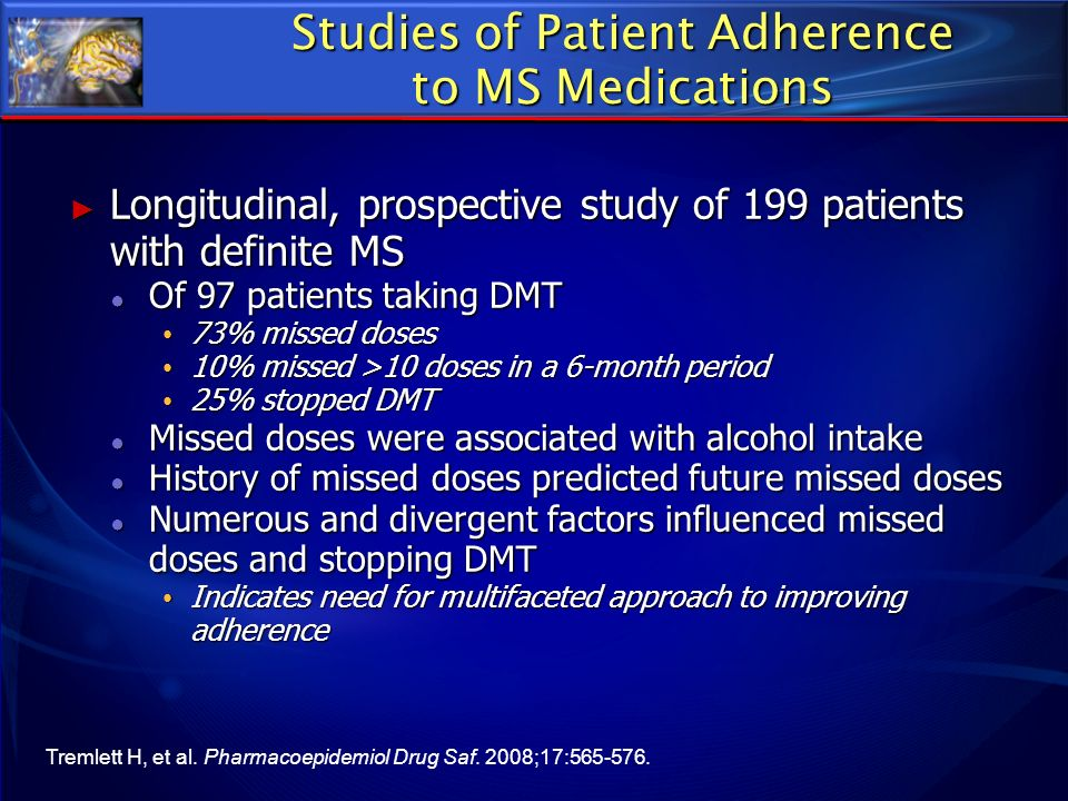 Studies of Patient Adherence to MS Medications Longitudinal, prospective study of 199 patients with definite MS Longitudinal, prospective study of 199