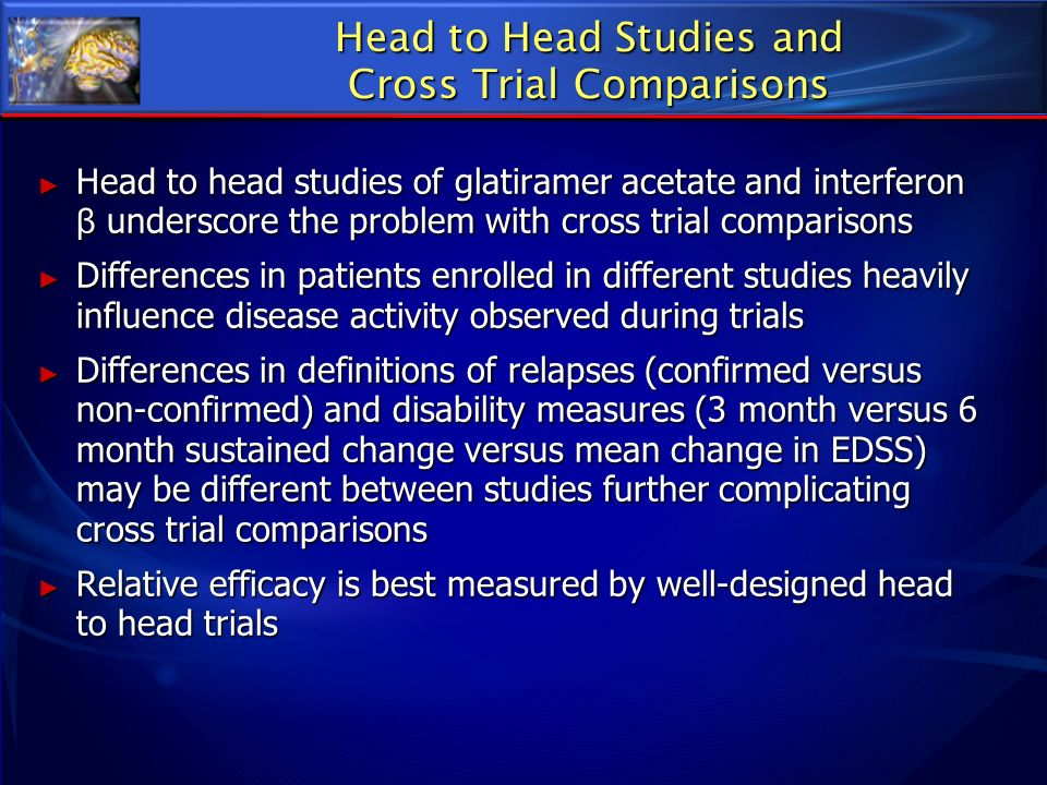 Head to Head Studies and Cross Trial Comparisons Head to head studies of glatiramer acetate and interferon β underscore the problem with cross trial c
