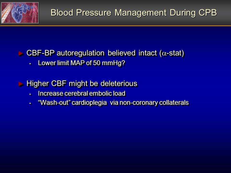 Blood Pressure Management During CPB CBF-BP autoregulation believed intact ( -stat) CBF-BP autoregulation believed intact ( -stat) Lower limit MAP of