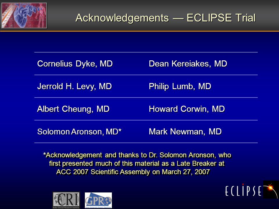 Acknowledgements ECLIPSE Trial Cornelius Dyke, MD Dean Kereiakes, MD Jerrold H.