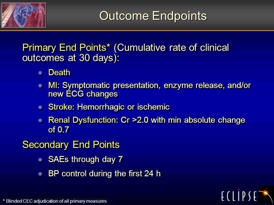 Outcome Endpoints Primary End Points* (Cumulative rate of clinical outcomes at 30 days): DeathDeath MI: Symptomatic presentation, enzyme release, and/or new ECG changesMI: Symptomatic presentation, enzyme release, and/or new ECG changes Stroke: Hemorrhagic or ischemicStroke: Hemorrhagic or ischemic Renal Dysfunction: Cr >2.0 with min absolute change of 0.7Renal Dysfunction: Cr >2.0 with min absolute change of 0.7 Secondary End Points SAEs through day 7SAEs through day 7 BP control during the first 24 hBP control during the first 24 h Primary End Points* (Cumulative rate of clinical outcomes at 30 days): DeathDeath MI: Symptomatic presentation, enzyme release, and/or new ECG changesMI: Symptomatic presentation, enzyme release, and/or new ECG changes Stroke: Hemorrhagic or ischemicStroke: Hemorrhagic or ischemic Renal Dysfunction: Cr >2.0 with min absolute change of 0.7Renal Dysfunction: Cr >2.0 with min absolute change of 0.7 Secondary End Points SAEs through day 7SAEs through day 7 BP control during the first 24 hBP control during the first 24 h * Blinded CEC adjudication of all primary measures