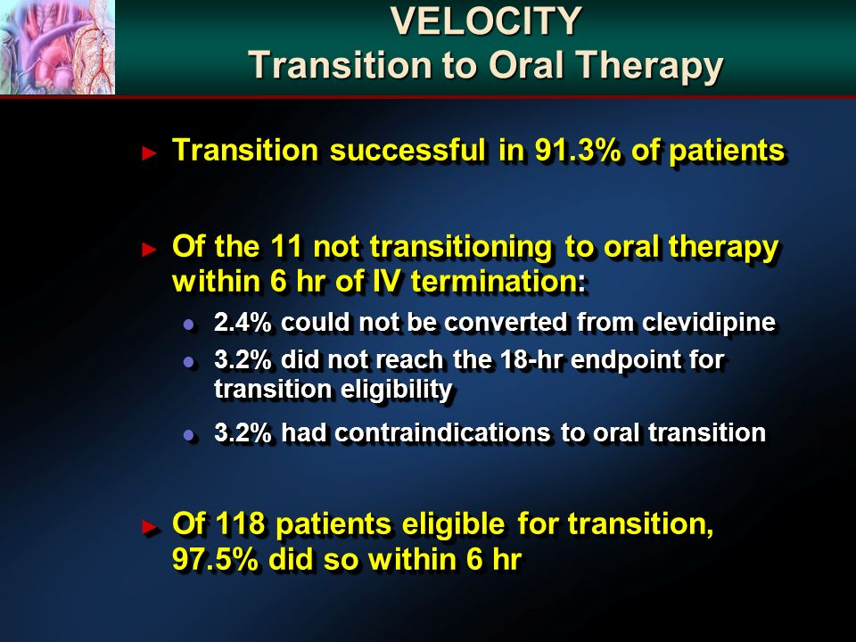 VELOCITY Transition to Oral Therapy Transition successful in 91.3% of patients Transition successful in 91.3% of patients Of the 11 not transitioning to oral therapy within 6 hr of IV termination: Of the 11 not transitioning to oral therapy within 6 hr of IV termination: l 2.4% could not be converted from clevidipine l 3.2% did not reach the 18-hr endpoint for transition eligibility l 3.2% had contraindications to oral transition Of 118 patients eligible for transition, 97.5% did so within 6 hr Of 118 patients eligible for transition, 97.5% did so within 6 hr Transition successful in 91.3% of patients Transition successful in 91.3% of patients Of the 11 not transitioning to oral therapy within 6 hr of IV termination: Of the 11 not transitioning to oral therapy within 6 hr of IV termination: l 2.4% could not be converted from clevidipine l 3.2% did not reach the 18-hr endpoint for transition eligibility l 3.2% had contraindications to oral transition Of 118 patients eligible for transition, 97.5% did so within 6 hr Of 118 patients eligible for transition, 97.5% did so within 6 hr