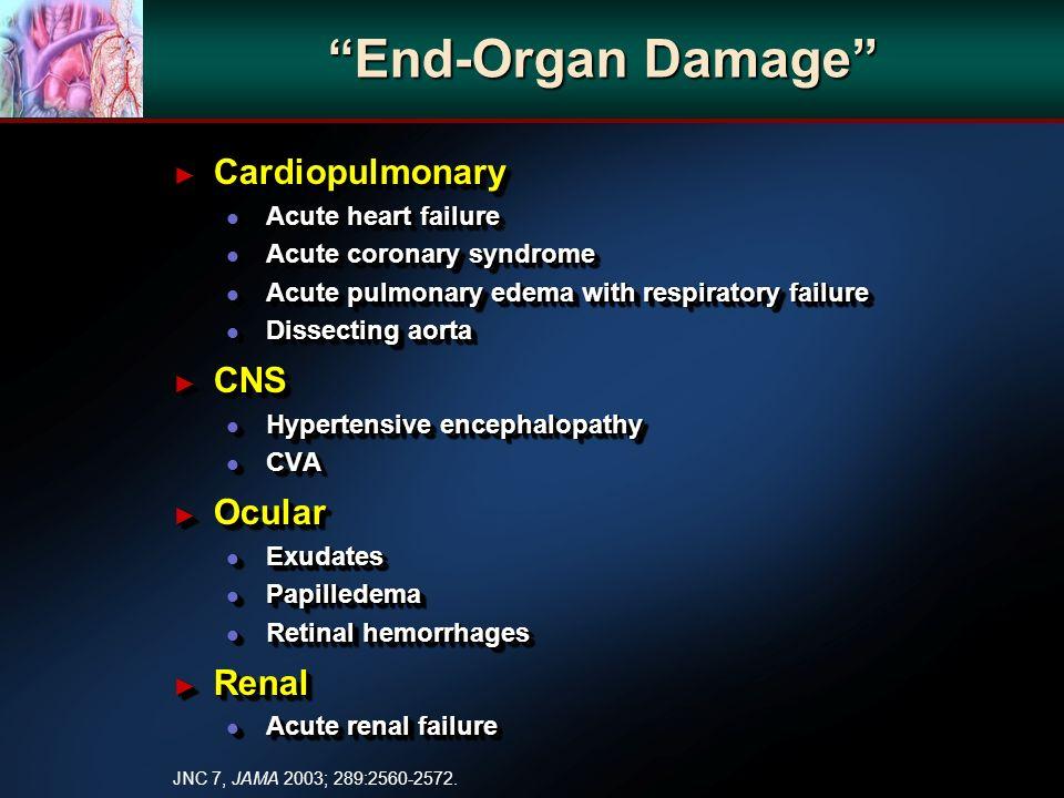 End-Organ Damage Cardiopulmonary Cardiopulmonary l Acute heart failure l Acute coronary syndrome l Acute pulmonary edema with respiratory failure l Dissecting aorta CNS CNS l Hypertensive encephalopathy l CVA Ocular Ocular l Exudates l Papilledema l Retinal hemorrhages Renal Renal l Acute renal failure Cardiopulmonary Cardiopulmonary l Acute heart failure l Acute coronary syndrome l Acute pulmonary edema with respiratory failure l Dissecting aorta CNS CNS l Hypertensive encephalopathy l CVA Ocular Ocular l Exudates l Papilledema l Retinal hemorrhages Renal Renal l Acute renal failure JNC 7, JAMA 2003; 289:2560-2572.