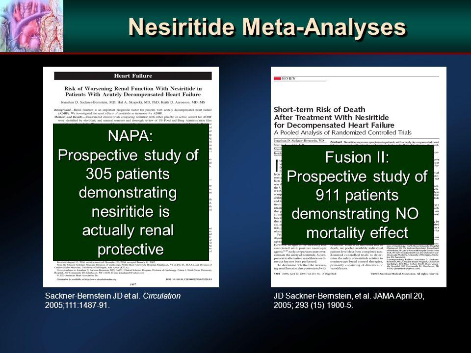 JD Sackner-Bernstein, et al. JAMA April 20, 2005; 293 (15) 1900-5. Nesiritide Meta-Analyses Sackner-Bernstein JD et al. Circulation 2005;111:1487-91.