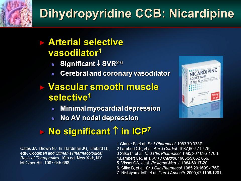 Dihydropyridine CCB: Nicardipine Arterial selective vasodilator 1 Arterial selective vasodilator 1 l Significant SVR 2-6 l Cerebral and coronary vasod