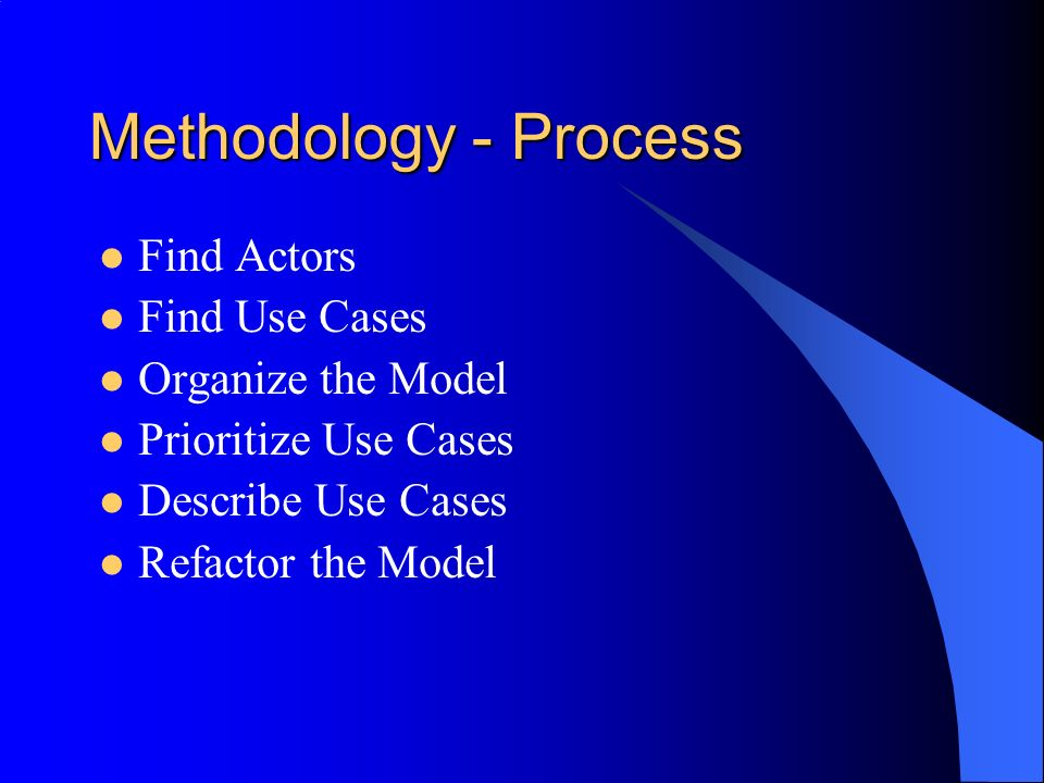Methodology - Process Find Actors Find Use Cases Organize the Model Prioritize Use Cases Describe Use Cases Refactor the Model
