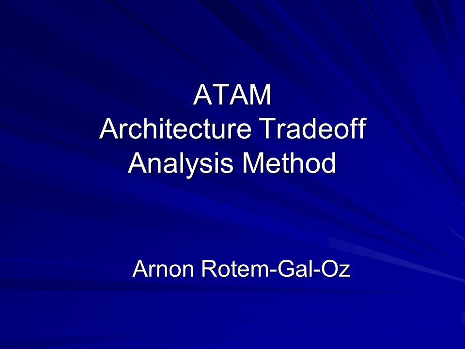 ATAM Architecture Tradeoff Analysis Method Arnon Rotem-Gal-Oz