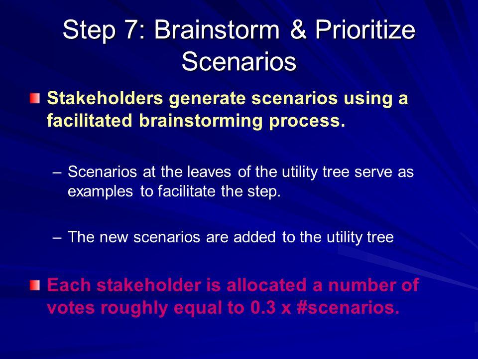 Step 7: Brainstorm & Prioritize Scenarios Stakeholders generate scenarios using a facilitated brainstorming process. – –Scenarios at the leaves of the