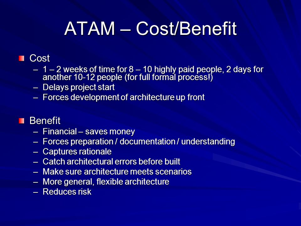 ATAM – Cost/Benefit Cost –1 – 2 weeks of time for 8 – 10 highly paid people, 2 days for another 10-12 people (for full formal process!) –Delays projec