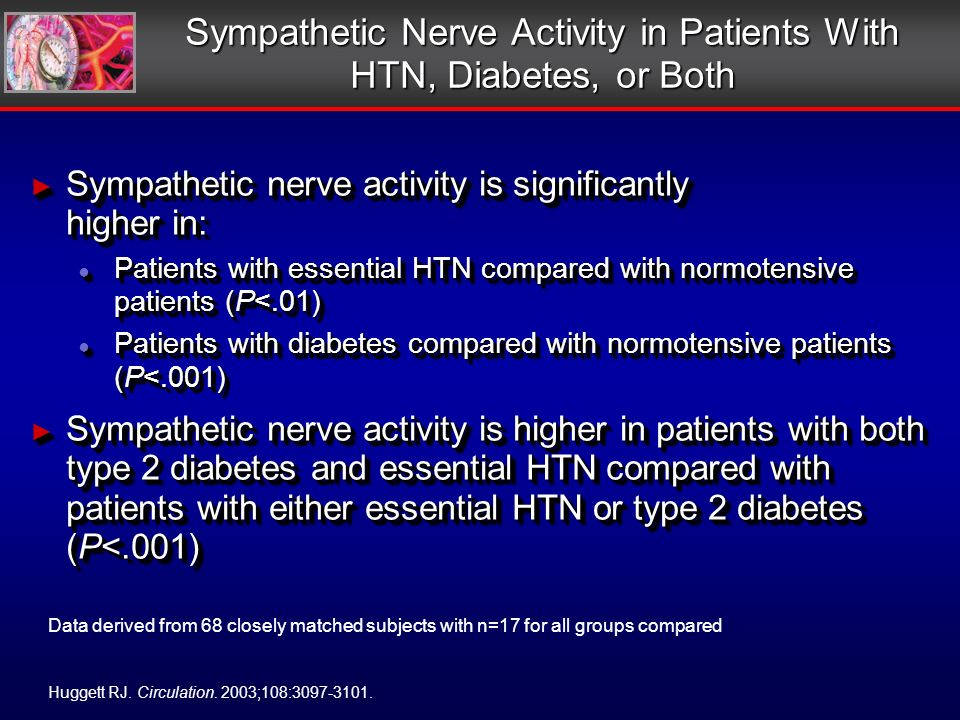 Sympathetic Nerve Activity in Patients With HTN, Diabetes, or Both Sympathetic nerve activity is significantly higher in: Sympathetic nerve activity is significantly higher in: Patients with essential HTN compared with normotensive patients (P<.01) Patients with essential HTN compared with normotensive patients (P<.01) Patients with diabetes compared with normotensive patients (P<.001) Patients with diabetes compared with normotensive patients (P<.001) Sympathetic nerve activity is higher in patients with both type 2 diabetes and essential HTN compared with patients with either essential HTN or type 2 diabetes (P<.001) Sympathetic nerve activity is higher in patients with both type 2 diabetes and essential HTN compared with patients with either essential HTN or type 2 diabetes (P<.001) Sympathetic nerve activity is significantly higher in: Sympathetic nerve activity is significantly higher in: Patients with essential HTN compared with normotensive patients (P<.01) Patients with essential HTN compared with normotensive patients (P<.01) Patients with diabetes compared with normotensive patients (P<.001) Patients with diabetes compared with normotensive patients (P<.001) Sympathetic nerve activity is higher in patients with both type 2 diabetes and essential HTN compared with patients with either essential HTN or type 2 diabetes (P<.001) Sympathetic nerve activity is higher in patients with both type 2 diabetes and essential HTN compared with patients with either essential HTN or type 2 diabetes (P<.001) Huggett RJ.