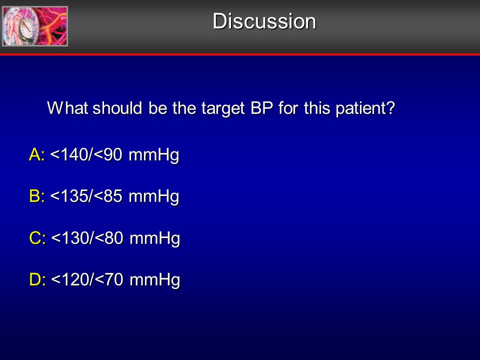 Discussion What should be the target BP for this patient.