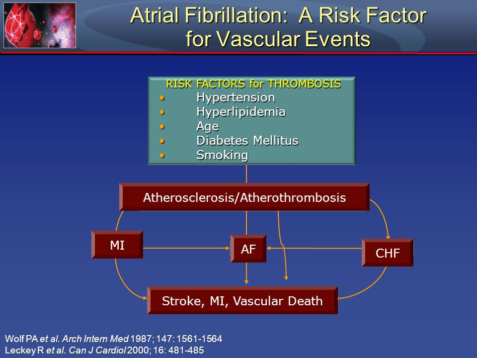 Atrial Fibrillation: A Risk Factor for Vascular Events Atherosclerosis/Atherothrombosis MIAF CHF Wolf PA et al. Arch Intern Med 1987; 147: 1561-1564 L
