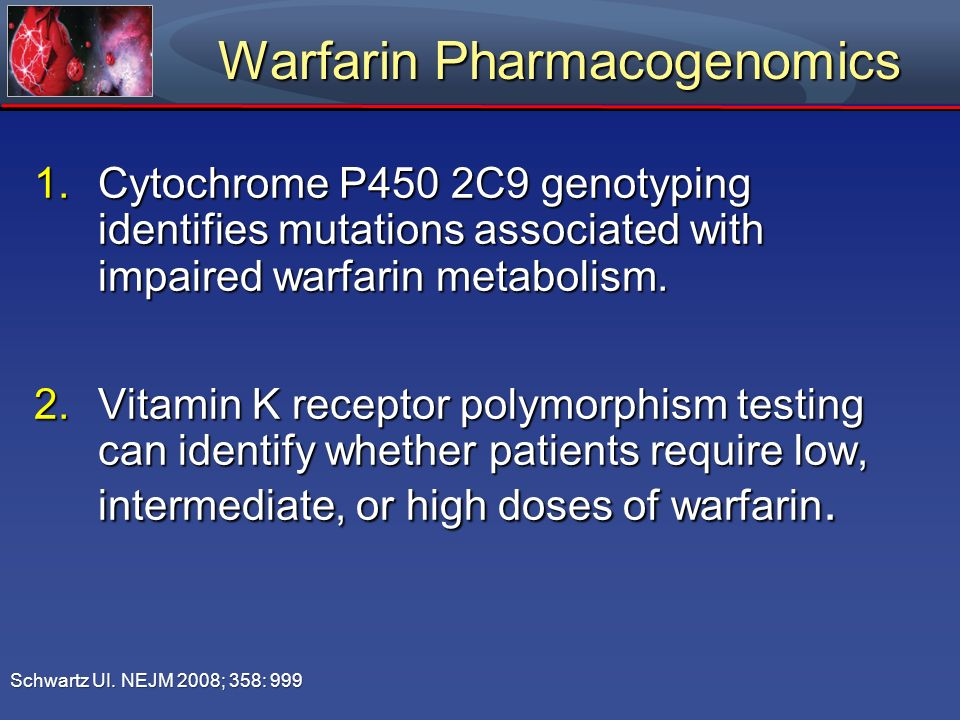 Warfarin Pharmacogenomics 1.Cytochrome P450 2C9 genotyping identifies mutations associated with impaired warfarin metabolism. 2.Vitamin K receptor pol