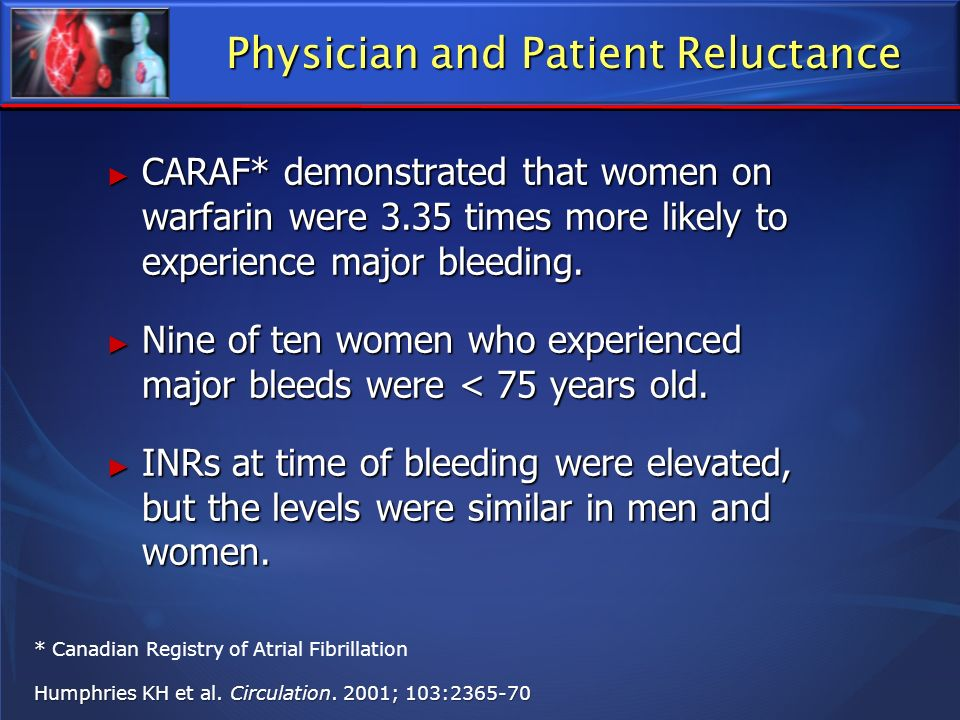 Physician and Patient Reluctance CARAF* demonstrated that women on warfarin were 3.35 times more likely to experience major bleeding. CARAF* demonstra