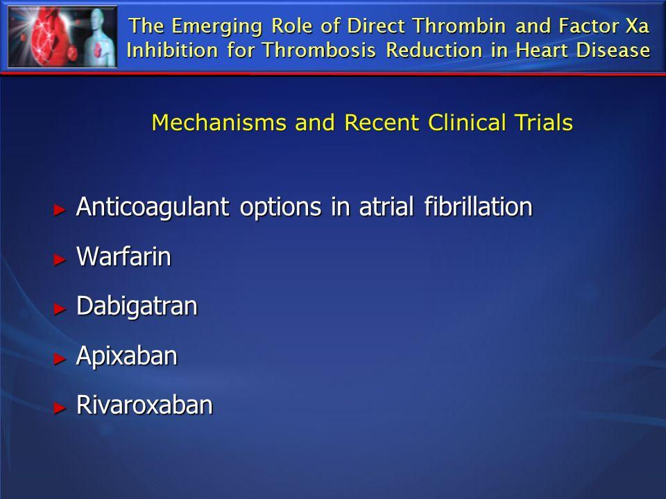 Anticoagulant options in atrial fibrillation Anticoagulant options in atrial fibrillation Warfarin Warfarin Dabigatran Dabigatran Apixaban Apixaban Ri