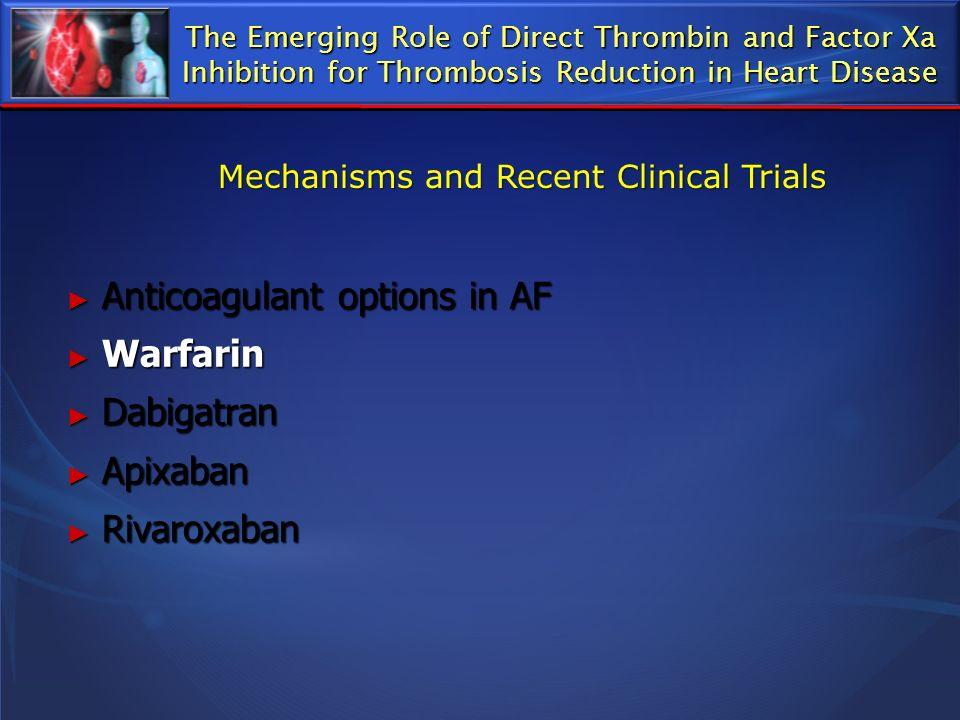 Anticoagulant options in AF Anticoagulant options in AF Warfarin Warfarin Dabigatran Dabigatran Apixaban Apixaban Rivaroxaban Rivaroxaban The Emerging