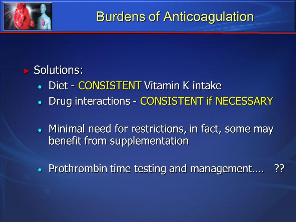 Burdens of Anticoagulation Solutions: Solutions: Diet - CONSISTENT Vitamin K intake Diet - CONSISTENT Vitamin K intake Drug interactions - CONSISTENT