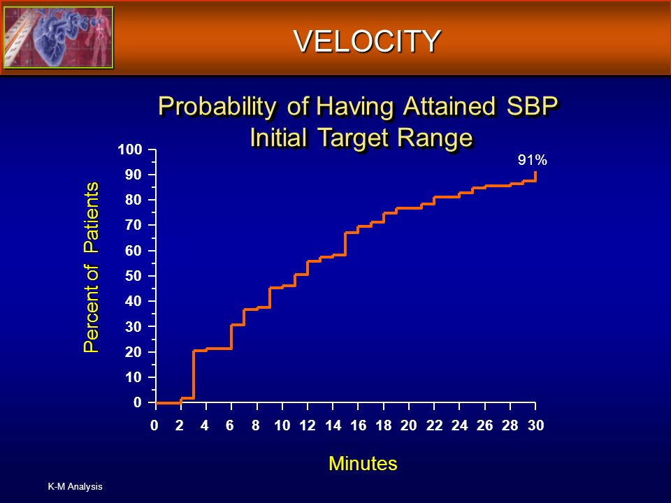 VELOCITY K-M Analysis 024681012141618202224262830 0 10 20 30 40 50 60 70 80 90 100 91% Minutes Percent of Patients Probability of Having Attained SBP Initial Target Range
