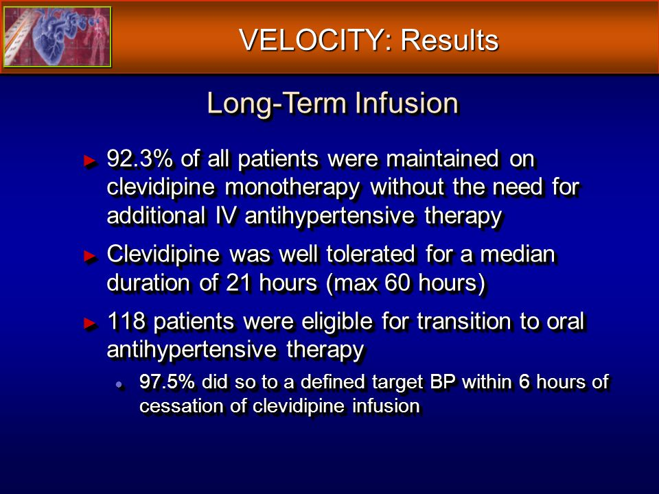 VELOCITY: Results 92.3% of all patients were maintained on clevidipine monotherapy without the need for additional IV antihypertensive therapy 92.3% of all patients were maintained on clevidipine monotherapy without the need for additional IV antihypertensive therapy Clevidipine was well tolerated for a median duration of 21 hours (max 60 hours) Clevidipine was well tolerated for a median duration of 21 hours (max 60 hours) 118 patients were eligible for transition to oral antihypertensive therapy 118 patients were eligible for transition to oral antihypertensive therapy 97.5% did so to a defined target BP within 6 hours of cessation of clevidipine infusion 97.5% did so to a defined target BP within 6 hours of cessation of clevidipine infusion 92.3% of all patients were maintained on clevidipine monotherapy without the need for additional IV antihypertensive therapy 92.3% of all patients were maintained on clevidipine monotherapy without the need for additional IV antihypertensive therapy Clevidipine was well tolerated for a median duration of 21 hours (max 60 hours) Clevidipine was well tolerated for a median duration of 21 hours (max 60 hours) 118 patients were eligible for transition to oral antihypertensive therapy 118 patients were eligible for transition to oral antihypertensive therapy 97.5% did so to a defined target BP within 6 hours of cessation of clevidipine infusion 97.5% did so to a defined target BP within 6 hours of cessation of clevidipine infusion Long-Term Infusion
