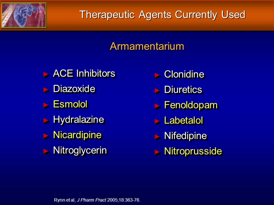 Therapeutic Agents Currently Used ACE Inhibitors ACE Inhibitors Diazoxide Diazoxide Esmolol Esmolol Hydralazine Hydralazine Nicardipine Nicardipine Nitroglycerin Nitroglycerin ACE Inhibitors ACE Inhibitors Diazoxide Diazoxide Esmolol Esmolol Hydralazine Hydralazine Nicardipine Nicardipine Nitroglycerin Nitroglycerin Clonidine Clonidine Diuretics Diuretics Fenoldopam Fenoldopam Labetalol Labetalol Nifedipine Nifedipine Nitroprusside Nitroprusside Rynn et al, J Pharm Pract 2005;18:363-76.