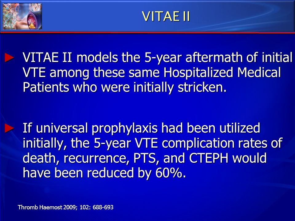 VITAE II VITAE II models the 5-year aftermath of initial VTE among these same Hospitalized Medical Patients who were initially stricken. VITAE II mode