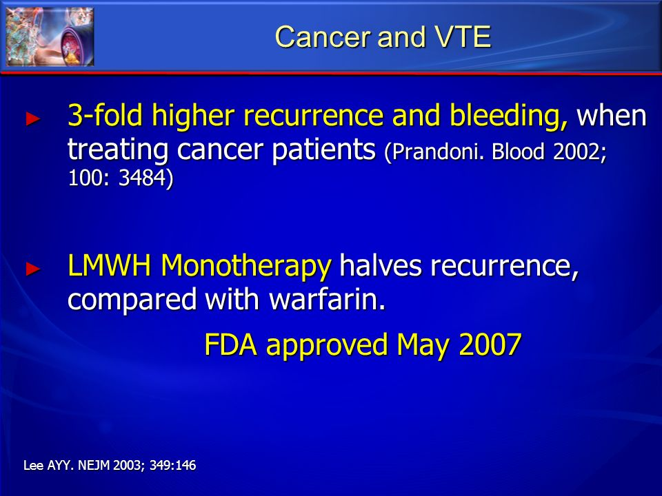 Cancer and VTE 3-fold higher recurrence and bleeding, when treating cancer patients (Prandoni. Blood 2002; 100: 3484) 3-fold higher recurrence and ble