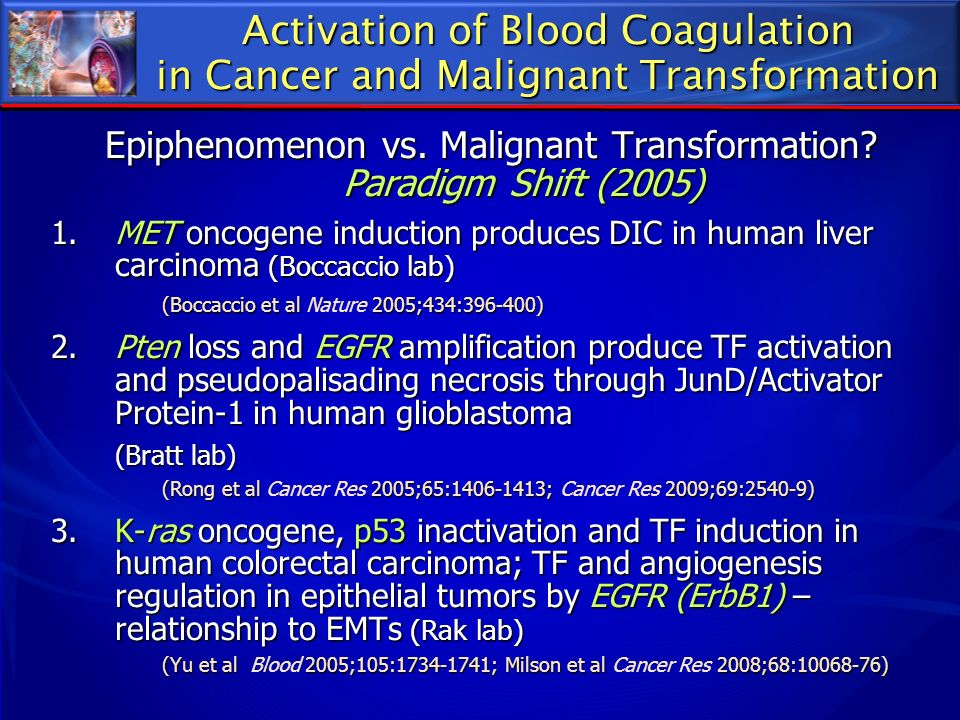 Activation of Blood Coagulation in Cancer and Malignant Transformation Epiphenomenon vs. Malignant Transformation? Paradigm Shift (2005) 1.MET oncogen