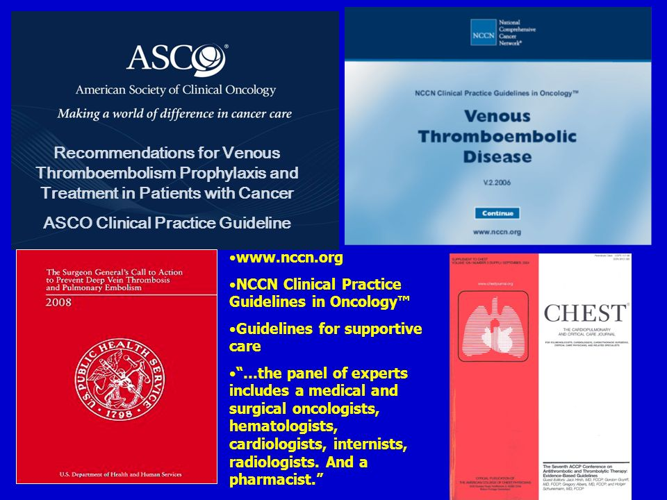 Recommendations for Venous Thromboembolism Prophylaxis and Treatment in Patients with Cancer ASCO Clinical Practice Guideline www.nccn.org NCCN Clinic