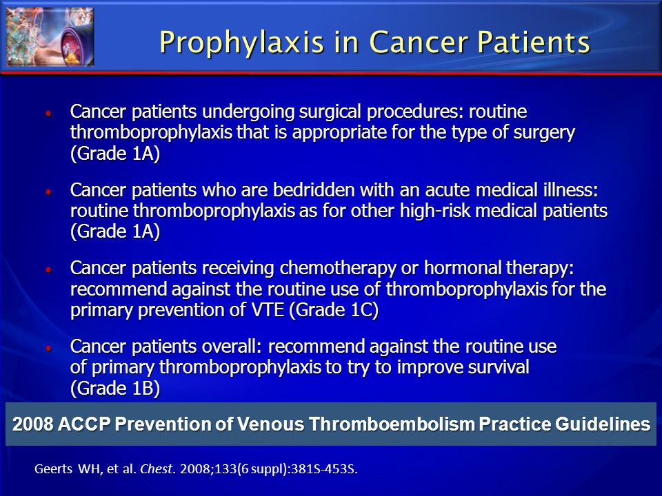 Prophylaxis in Cancer Patients Cancer patients undergoing surgical procedures: routine thromboprophylaxis that is appropriate for the type of surgery