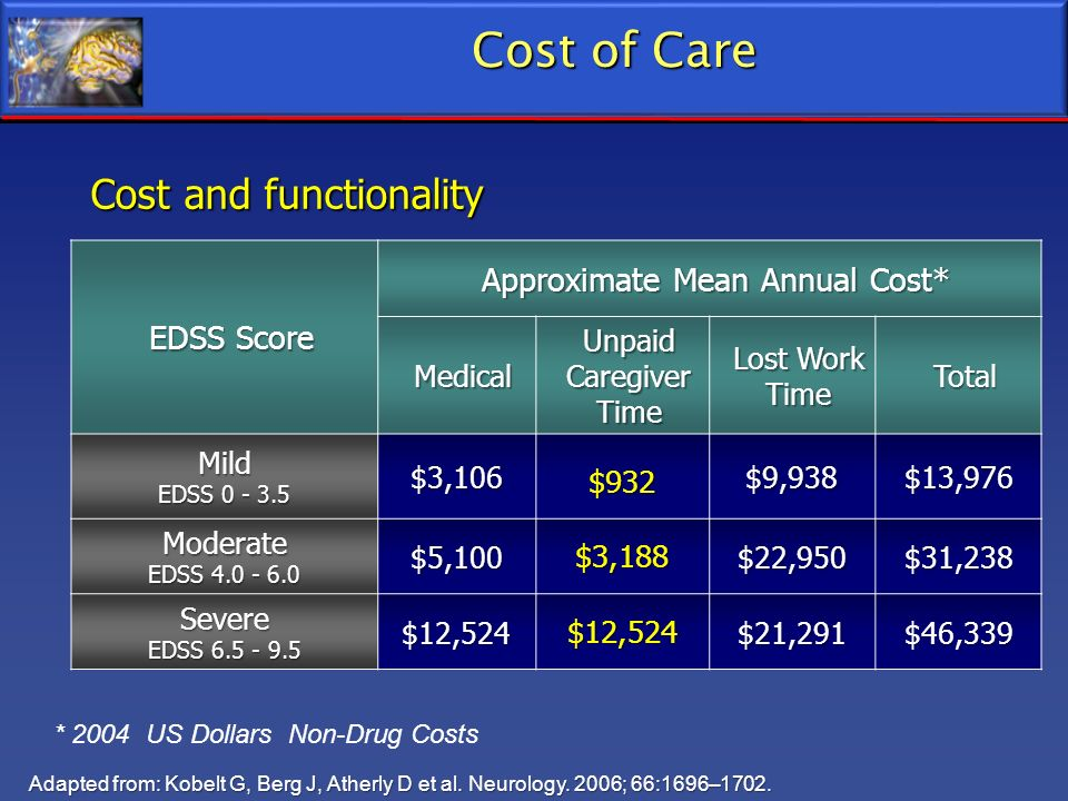 Cost of Care Cost and functionality Adapted from: Kobelt G, Berg J, Atherly D et al. Neurology. 2006; 66:1696–1702. * 2004 US Dollars Non-Drug Costs E