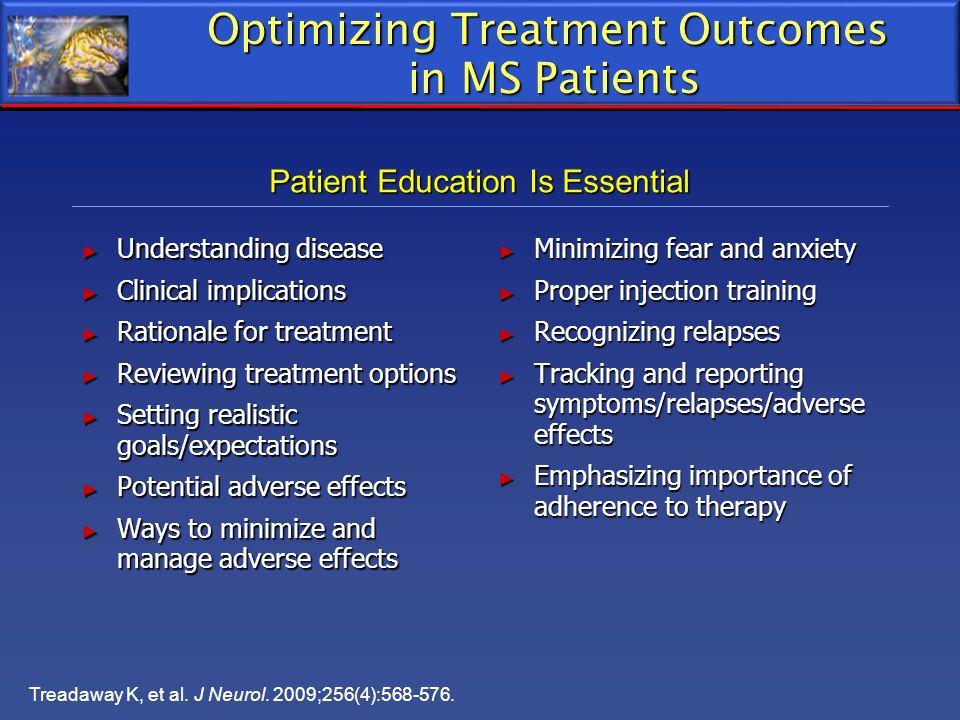 Treadaway K, et al. J Neurol. 2009;256(4):568-576. Optimizing Treatment Outcomes in MS Patients Understanding disease Understanding disease Clinical i