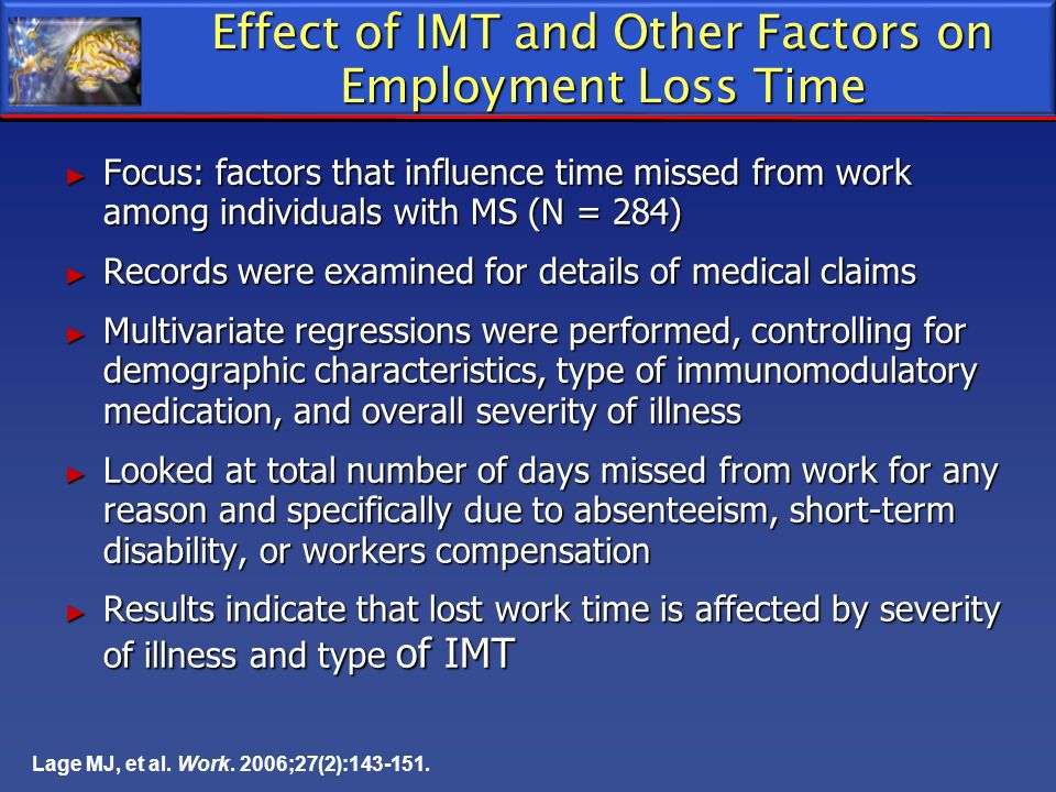 Lage MJ, et al. Work. 2006;27(2):143-151. Effect of IMT and Other Factors on Employment Loss Time Focus: factors that influence time missed from work