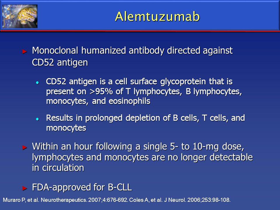Alemtuzumab Monoclonal humanized antibody directed against CD52 antigen Monoclonal humanized antibody directed against CD52 antigen CD52 antigen is a
