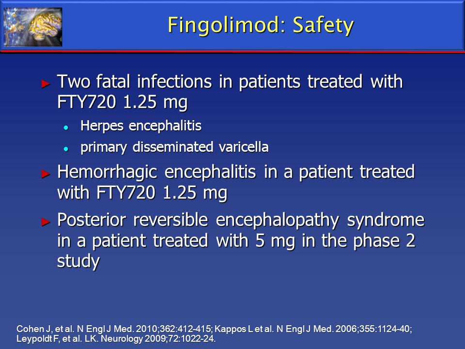Fingolimod: Safety Two fatal infections in patients treated with FTY720 1.25 mg Two fatal infections in patients treated with FTY720 1.25 mg Herpes en