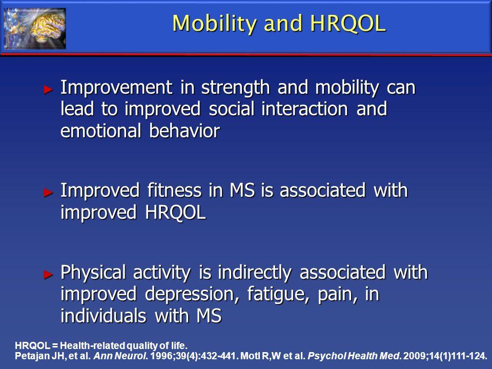 HRQOL = Health-related quality of life. Petajan JH, et al. Ann Neurol. 1996;39(4):432-441. Motl R,W et al. Psychol Health Med. 2009;14(1)111-124. Mobi