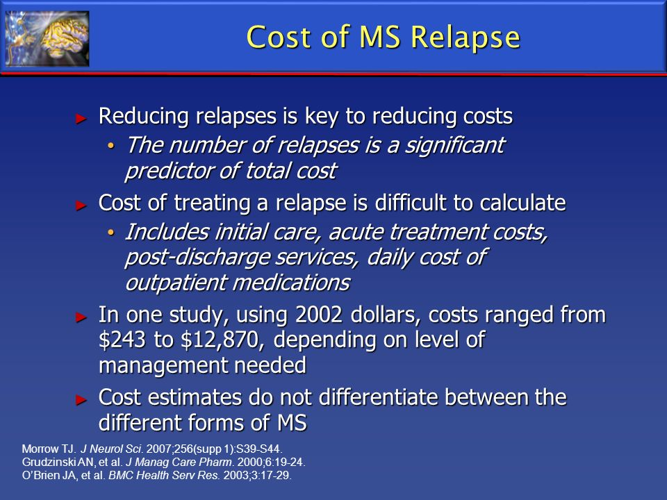 Cost of MS Relapse Reducing relapses is key to reducing costs Reducing relapses is key to reducing costs The number of relapses is a significant predi