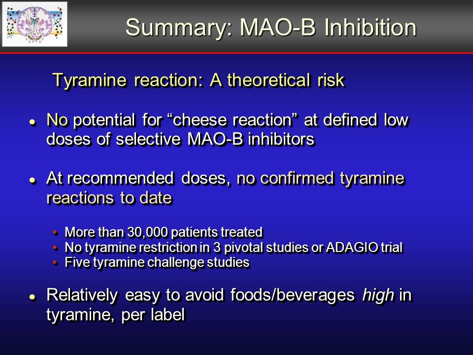 Summary: MAO-B Inhibition Tyramine reaction: A theoretical risk No potential for cheese reaction at defined low doses of selective MAO-B inhibitors No potential for cheese reaction at defined low doses of selective MAO-B inhibitors At recommended doses, no confirmed tyramine reactions to date At recommended doses, no confirmed tyramine reactions to date More than 30,000 patients treatedMore than 30,000 patients treated No tyramine restriction in 3 pivotal studies or ADAGIO trialNo tyramine restriction in 3 pivotal studies or ADAGIO trial Five tyramine challenge studiesFive tyramine challenge studies Relatively easy to avoid foods/beverages high in tyramine, per label Relatively easy to avoid foods/beverages high in tyramine, per label Tyramine reaction: A theoretical risk No potential for cheese reaction at defined low doses of selective MAO-B inhibitors No potential for cheese reaction at defined low doses of selective MAO-B inhibitors At recommended doses, no confirmed tyramine reactions to date At recommended doses, no confirmed tyramine reactions to date More than 30,000 patients treatedMore than 30,000 patients treated No tyramine restriction in 3 pivotal studies or ADAGIO trialNo tyramine restriction in 3 pivotal studies or ADAGIO trial Five tyramine challenge studiesFive tyramine challenge studies Relatively easy to avoid foods/beverages high in tyramine, per label Relatively easy to avoid foods/beverages high in tyramine, per label