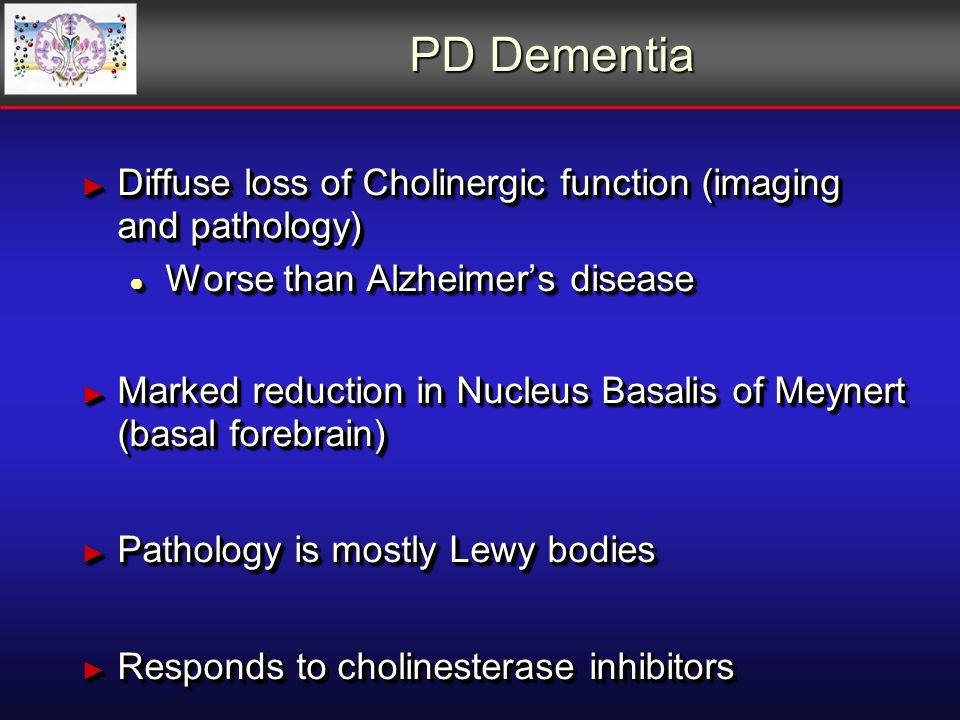 PD Dementia Diffuse loss of Cholinergic function (imaging and pathology) Diffuse loss of Cholinergic function (imaging and pathology) Worse than Alzheimers disease Worse than Alzheimers disease Marked reduction in Nucleus Basalis of Meynert (basal forebrain) Marked reduction in Nucleus Basalis of Meynert (basal forebrain) Pathology is mostly Lewy bodies Pathology is mostly Lewy bodies Responds to cholinesterase inhibitors Responds to cholinesterase inhibitors Diffuse loss of Cholinergic function (imaging and pathology) Diffuse loss of Cholinergic function (imaging and pathology) Worse than Alzheimers disease Worse than Alzheimers disease Marked reduction in Nucleus Basalis of Meynert (basal forebrain) Marked reduction in Nucleus Basalis of Meynert (basal forebrain) Pathology is mostly Lewy bodies Pathology is mostly Lewy bodies Responds to cholinesterase inhibitors Responds to cholinesterase inhibitors