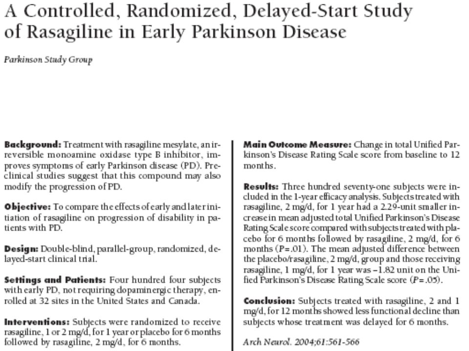 Double-Blind Active Treatment Phase Double-Blind Placebo-Controlled Phase Delayed Rasagiline 2 mg/day Rasagiline 1 mg/day 6 Months 6 Months 6 Months Parkinson Study Group.