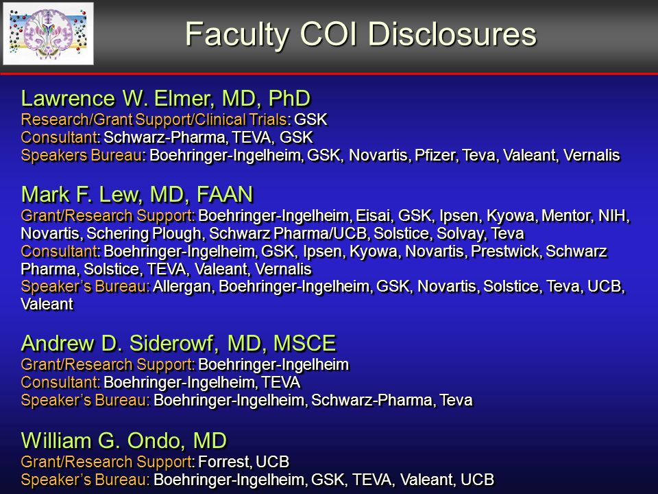 Faculty COI Disclosures Faculty COI Disclosures Lawrence W.