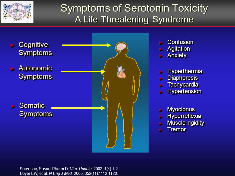 Symptoms of Serotonin Toxicity A Life Threatening Syndrome Cognitive Symptoms Cognitive Symptoms Confusion Confusion Agitation Agitation Anxiety Anxiety Confusion Confusion Agitation Agitation Anxiety Anxiety Autonomic Symptoms Autonomic Symptoms Hyperthermia Hyperthermia Diaphoresis Diaphoresis Tachycardia Tachycardia Hypertension Hypertension Hyperthermia Hyperthermia Diaphoresis Diaphoresis Tachycardia Tachycardia Hypertension Hypertension Somatic Symptoms Somatic Symptoms Myoclonus Myoclonus Hyperreflexia Hyperreflexia Muscle rigidity Muscle rigidity Tremor Tremor Myoclonus Myoclonus Hyperreflexia Hyperreflexia Muscle rigidity Muscle rigidity Tremor Tremor Sorenson, Susan, Pharm D.