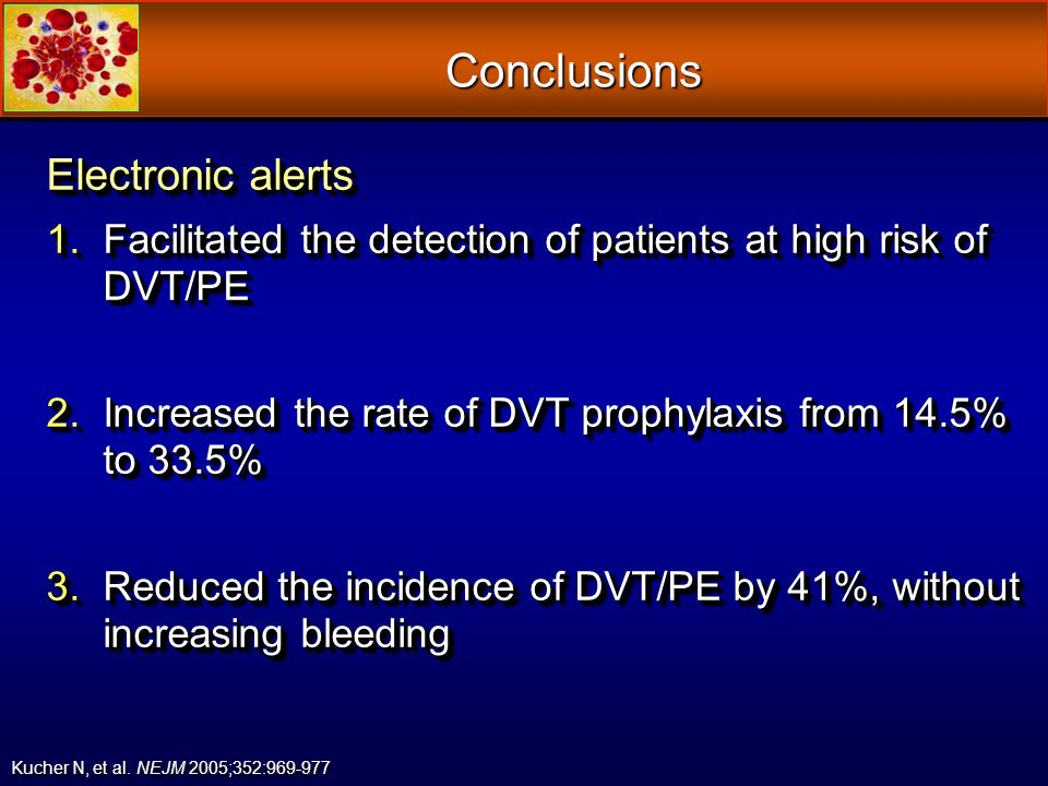Conclusions Electronic alerts 1.Facilitated the detection of patients at high risk of DVT/PE 2.Increased the rate of DVT prophylaxis from 14.5% to 33.