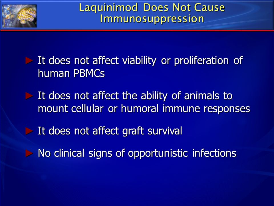 Laquinimod Does Not Cause Immunosuppression It does not affect viability or proliferation of human PBMCs It does not affect viability or proliferation