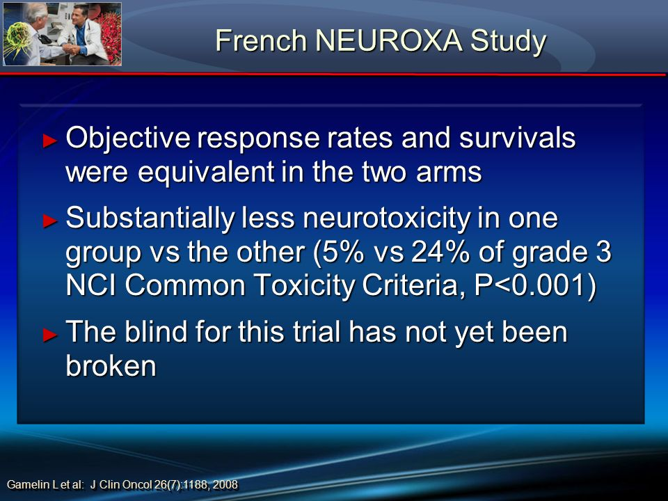 French NEUROXA Study French NEUROXA Study Objective response rates and survivals were equivalent in the two arms Objective response rates and survival