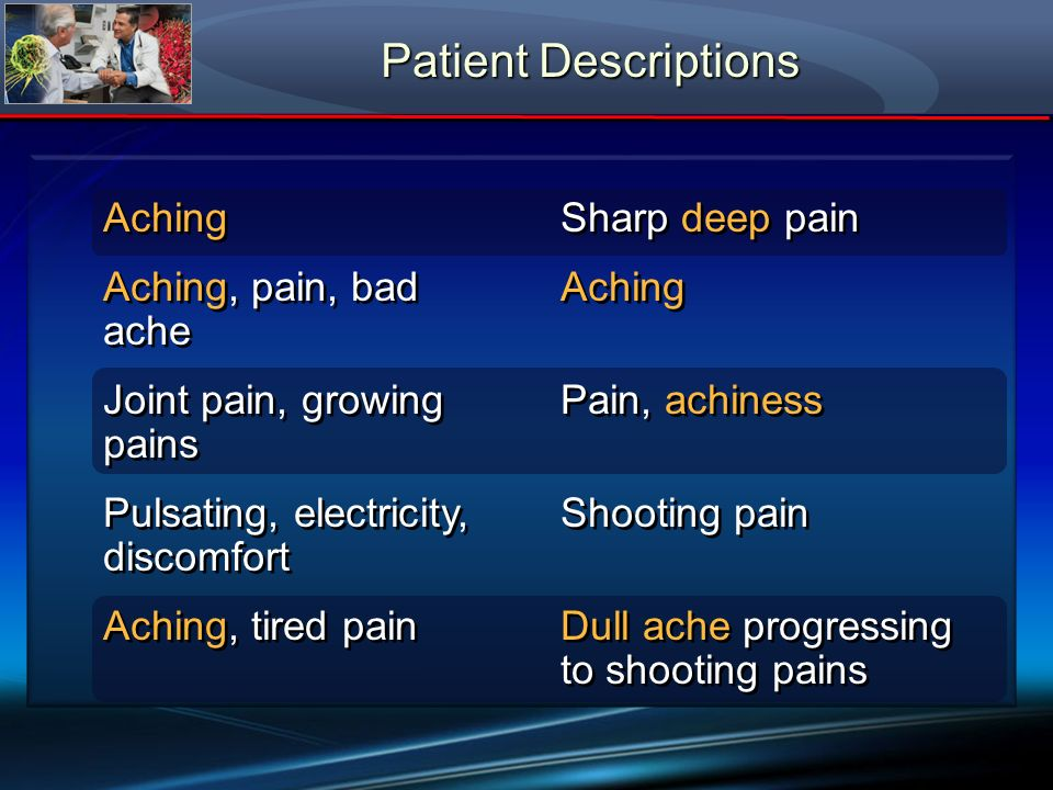 Patient Descriptions Aching Aching, pain, bad ache Joint pain, growing pains Pulsating, electricity, discomfort Aching, tired pain Aching Aching, pain