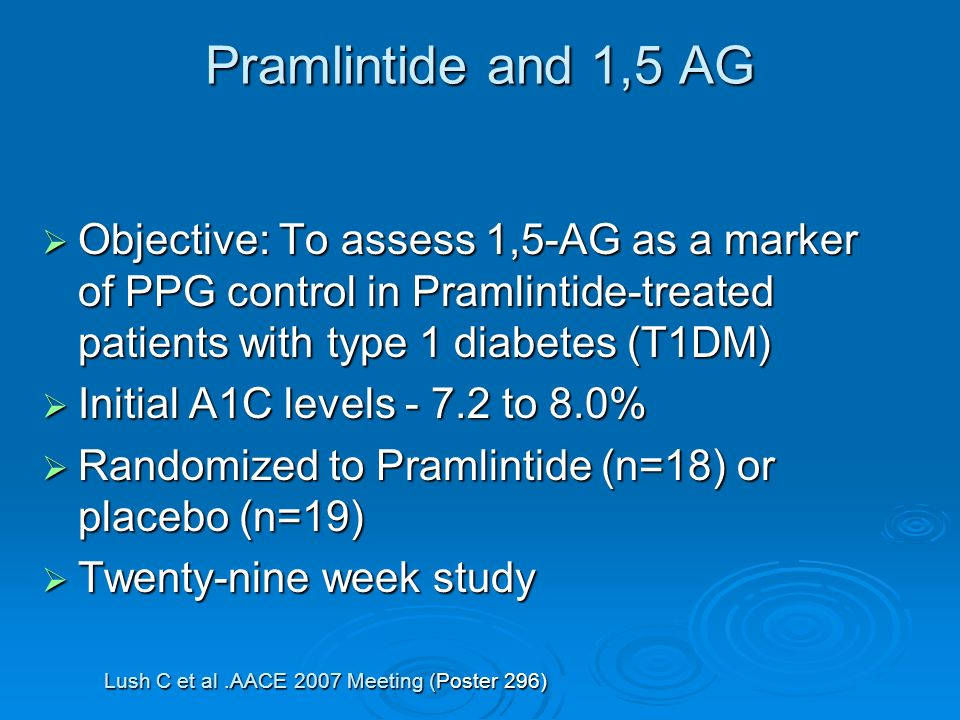 Pramlintide and 1,5 AG Objective: To assess 1,5-AG as a marker of PPG control in Pramlintide-treated patients with type 1 diabetes (T1DM) Objective: To assess 1,5-AG as a marker of PPG control in Pramlintide-treated patients with type 1 diabetes (T1DM) Initial A1C levels - 7.2 to 8.0% Initial A1C levels - 7.2 to 8.0% Randomized to Pramlintide (n=18) or placebo (n=19) Randomized to Pramlintide (n=18) or placebo (n=19) Twenty-nine week study Twenty-nine week study Lush C et al.AACE 2007 Meeting (Poster 296)