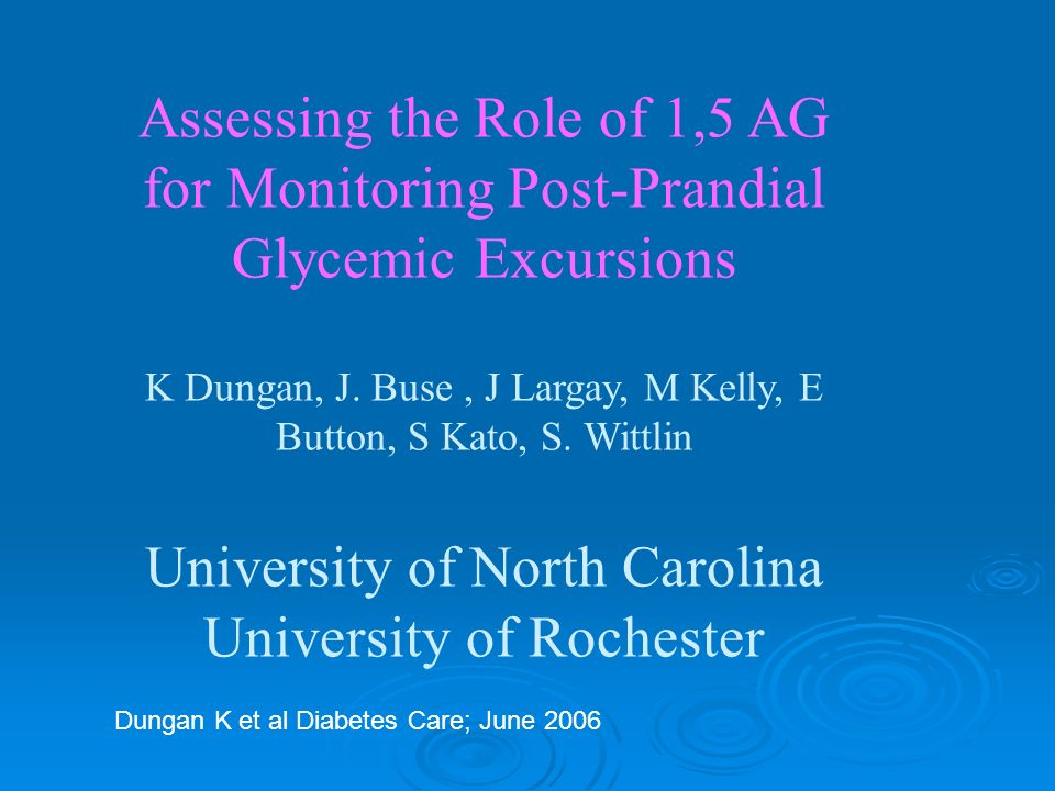 Assessing the Role of 1,5 AG for Monitoring Post-Prandial Glycemic Excursions K Dungan, J.