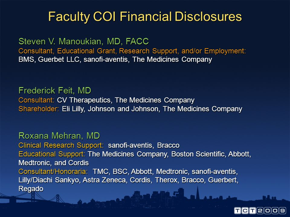 Faculty COI Financial Disclosures Steven V.