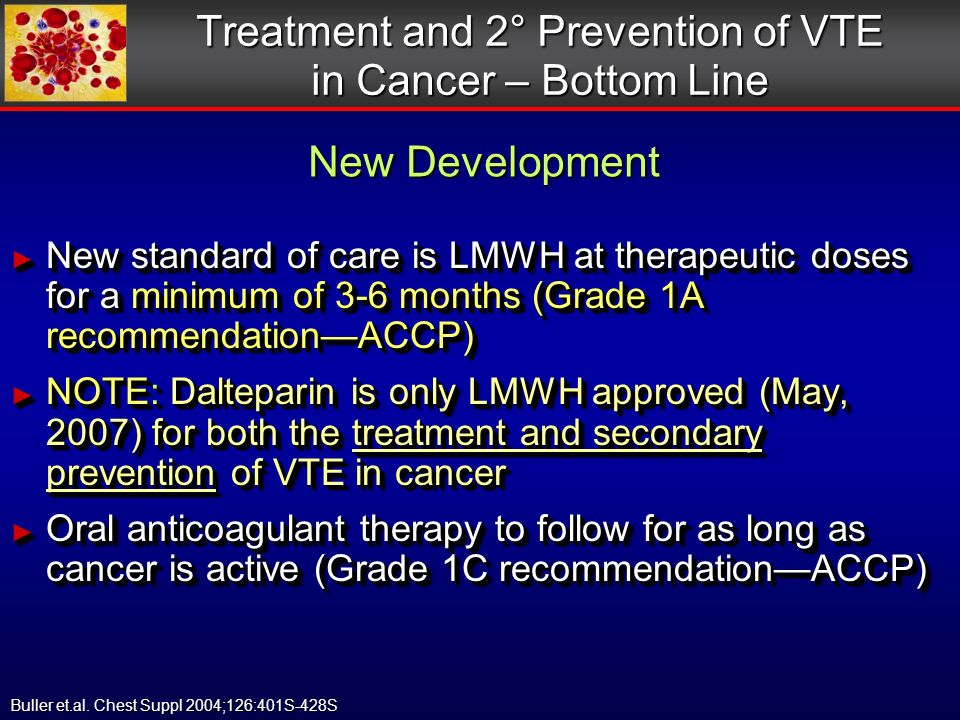 Treatment and 2° Prevention of VTE in Cancer – Bottom Line New standard of care is LMWH at therapeutic doses for a minimum of 3-6 months (Grade 1A recommendationACCP) New standard of care is LMWH at therapeutic doses for a minimum of 3-6 months (Grade 1A recommendationACCP) NOTE: Dalteparin is only LMWH approved (May, 2007) for both the treatment and secondary prevention of VTE in cancer NOTE: Dalteparin is only LMWH approved (May, 2007) for both the treatment and secondary prevention of VTE in cancer Oral anticoagulant therapy to follow for as long as cancer is active (Grade 1C recommendationACCP) Oral anticoagulant therapy to follow for as long as cancer is active (Grade 1C recommendationACCP) New standard of care is LMWH at therapeutic doses for a minimum of 3-6 months (Grade 1A recommendationACCP) New standard of care is LMWH at therapeutic doses for a minimum of 3-6 months (Grade 1A recommendationACCP) NOTE: Dalteparin is only LMWH approved (May, 2007) for both the treatment and secondary prevention of VTE in cancer NOTE: Dalteparin is only LMWH approved (May, 2007) for both the treatment and secondary prevention of VTE in cancer Oral anticoagulant therapy to follow for as long as cancer is active (Grade 1C recommendationACCP) Oral anticoagulant therapy to follow for as long as cancer is active (Grade 1C recommendationACCP) Buller et.al.